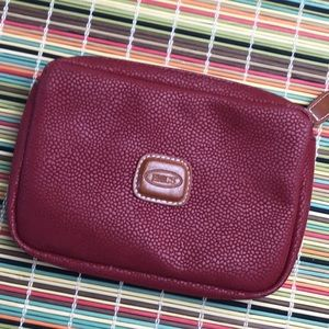 Brics Red Leather Travel Pouch